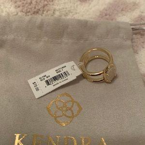Kendra Scott Elyse size 7 gold, irdescent druzy